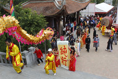 A group of Asian people dance dragon in folk festivals Stock Images