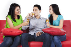 Group of asian teenager drinking champagne Stock Images