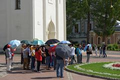 Group of asian tourists in the Trinity Lavra of St. Sergius. Sergiyev Posad, Russia Stock Photography