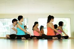 Group of asian women and man practicing yoga, fitness stretching flexibility pose, working out, healthy lifestyle, wellness, well royalty free stock photos
