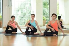 fitness women in yoga pose stock image image of looking