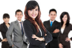 Group of asian young businessperson, woman as a team leader stan. A portrait Group of asian young businessperson, women as a team leader standing at the front Stock Photography