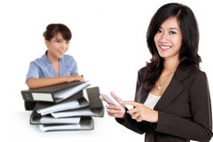 Group of asian young businessperson, woman as a team leader stan Royalty Free Stock Photography