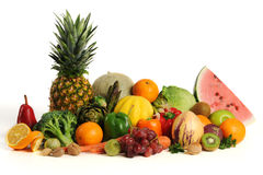Group of asorted fruits and vegetables Stock Images