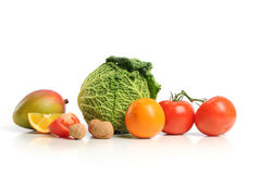 Group of asorted fruits and vegetables. Isolated o a white background Royalty Free Stock Image