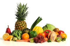 Group of asorted fruits and vegetables. Isolated o a white background Stock Photo