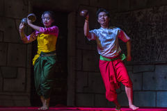 A group of Aspara Dancers were performing at a public perform in Siem Reap,Cambodia. Siem Reap,Cambodia - 28.06.2017 :A group of Aspara Dancers were performing Stock Photo