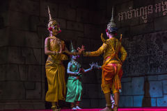 A group of Aspara Dancers were performing at a public perform in Siem Reap,Cambodia. Siem Reap,Cambodia - 28.06.2017 :A group of Aspara Dancers were performing Stock Image