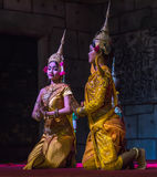 A group of Aspara Dancers were performing at a public perform in Siem Reap,Cambodia. Siem Reap,Cambodia - 28.06.2017 :A group of Aspara Dancers were performing Royalty Free Stock Image