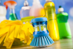 Group of assorted cleaning, home work colorful theme Royalty Free Stock Photography