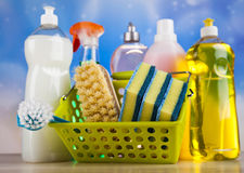 Group of assorted cleaning, home work colorful theme Royalty Free Stock Photo