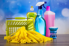 Group of assorted cleaning, home work colorful theme Stock Photo
