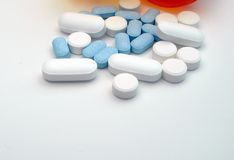 Group of assorted pills. Close-up of assorted pills with white space underneath to add printing or text Royalty Free Stock Photos