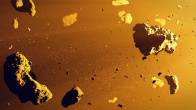 A group of asteroids lit by the Sun, asteroid belt space scene 3d illustration. Asteroids in deep space surrounded by dust stock illustration