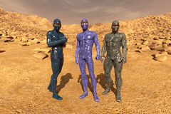 Group of astronauts on Mars. 3d render of a group of astronauts on the mars texture background Stock Photos