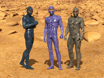Group of astronauts on Mars. 3d render of a group of astronauts on the mars texture background Stock Photo