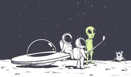 Alien and astonauts photographs himself vector illustration