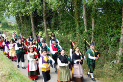 A group of asturian bagpipers Royalty Free Stock Photo