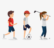 Group of athletes avatars characters Stock Image