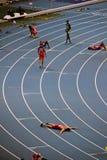 Group of athletes finished Stock Image