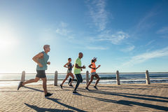 Group of athletes running on ocean front. Runners in sportswear training together outdoors royalty free stock photos