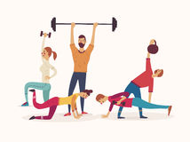 Group of athletes working with weights and kettlebells lifting barbells. Group of athletes working with weights and kettlebells lifting barbells Stock Photos