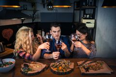 Group of attractive people have dinner together royalty free stock images
