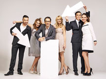 Group of attractive people pointing s Stock Photography