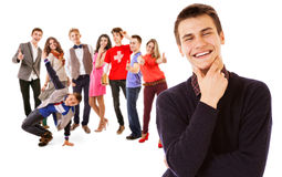 Group of attractive smiling young people Stock Photo