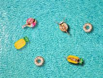 A group of attractive woman enjoys the sun on shaped floats stock image