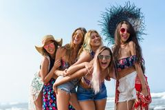 group of attractive young women looking at camera royalty free stock images