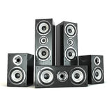 Group of audio speakers. Loudspeakers  on white. Stock Images