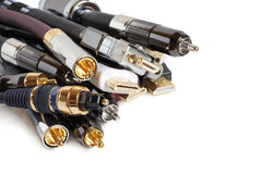 Group of audio/video cables. On white background Stock Photo