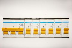 Group of automatic electrical switches on a white background. royalty free stock photos