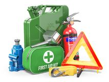 Group of automobile accessories. Jerrycan, funnel, fire extingui Royalty Free Stock Image