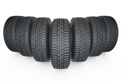 Group of automotive tires. Isolated on white background Stock Photo
