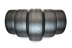 Group of automotive tyres Royalty Free Stock Photo