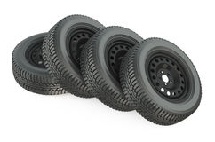 Group of automotive wheels Stock Images