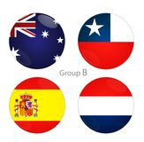 Group B - Australia, Chile, Spain, Netherlands Royalty Free Stock Photo