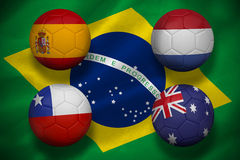 Group b footballs for world cup Royalty Free Stock Images