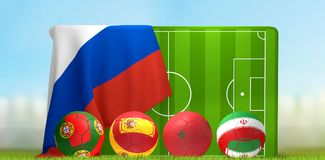 Group B soccer field 3D illustration with soccer balls and flags. Design Stock Image