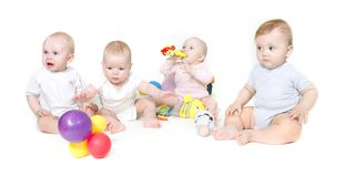 Group of babies. Over white Stock Photos