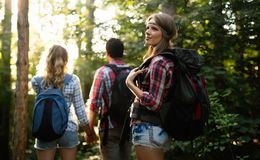 Group of backpacking hikers going for forest trekking. Group of backpacking hikers friends going for forest trekking royalty free stock photography