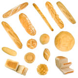 Group of baguettes, buns and sliced bread. Isoated in white Stock Image