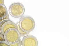 Group of 10 baht coin. On left side for background Royalty Free Stock Images