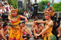Group of Balinese dancers perform mythological drama Royalty Free Stock Photo