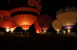 Group of balloons in the night glow Royalty Free Stock Photo