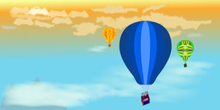 Group of hot air balloons in the sky at sunset. Illustration of three balloons in aerial perspective that fly in the sky as it is getting dark; of particular Royalty Free Stock Photos