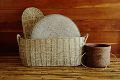 Group of bamboo baskets Stock Images