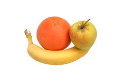 Apple banana grapefruit. Group of banana, apple and grapefruit Royalty Free Stock Photos